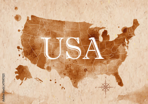 Poszter Map United States retro