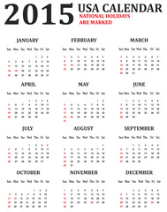 Simple USA Calendar for 2015. American holidays are marked