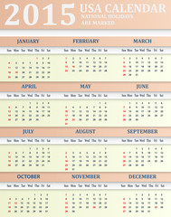 USA Calendar for 2015. American holidays are marked