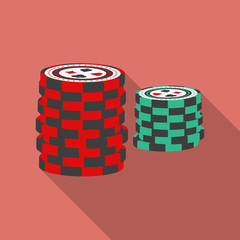 Casino chips icon. Modern Flat style with a long shadow
