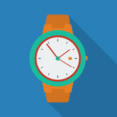 Clock icon. Modern Flat style with a long shadow
