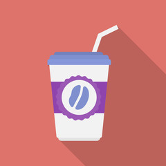 Cup of coffee icon. Modern Flat style with a long shadow