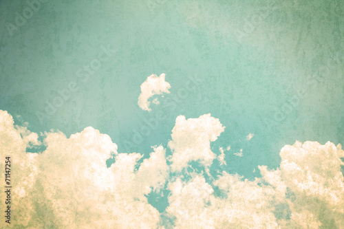 Leinwandbild Motiv retro color tone of Clouds with blue sky in sunny day