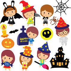 halloween kids clip art set
