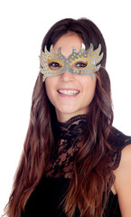 Attractive girl with a carnival mask
