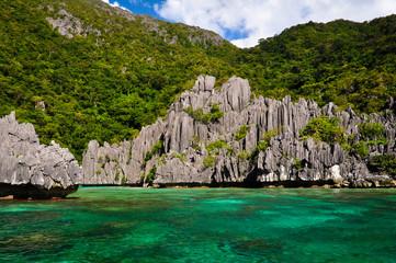 Beautiful Blue Lagoon and Limestone Rocks of El Nido Islands
