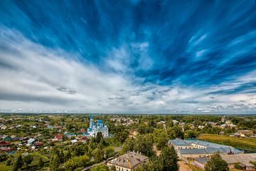 Вид с высоты птичьего полета на город Торжок
