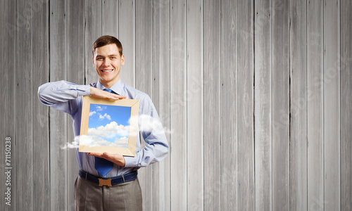 canvas print picture Businessman with frame