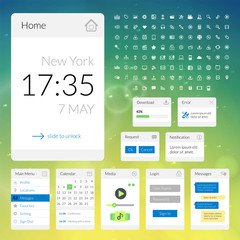Mobile flat interface elements with colorful wallpaper and icon