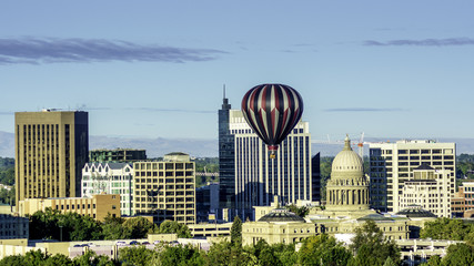 City of Boise Idaho skyline and hot air balloon