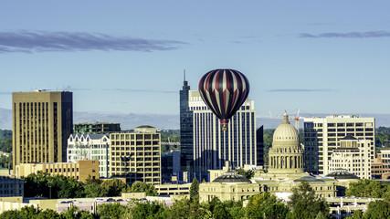 City of Boise Idaho skyline and hot air balloon