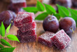 Plum jelly candies, selective focus