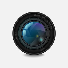 Lens with the shutter on white. Vector illustration
