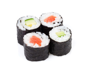 Sushi maki set with salmon and cucumber
