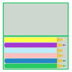 カラフルな色鉛筆と筆箱