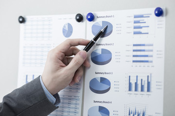 Businessman pointing to flip board with chart in office