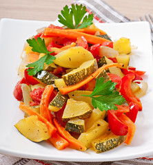 Roasted vegetables - zucchini, tomatoes, carrots, onions and pap