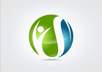 Sucses People Globe icon Green bio symbol.zip