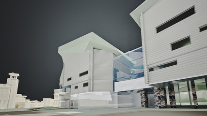3D graphics of the urban environment. quarter