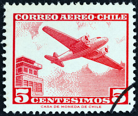 Airliner and control tower (Chile 1964)