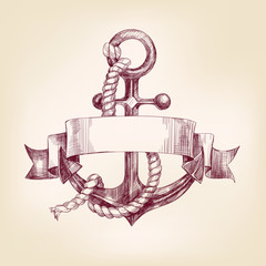 anchor with a banner hand drawn vector llustration
