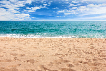 beautiful sandy beach on the coast sea