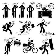 Fail Businessman Emotion Feeling Action Cliparts