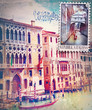 Old fashioned postcard with Venice