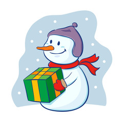 Snowman holding christmas present