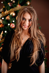 Portrait of a beautiful young woman at Christmas