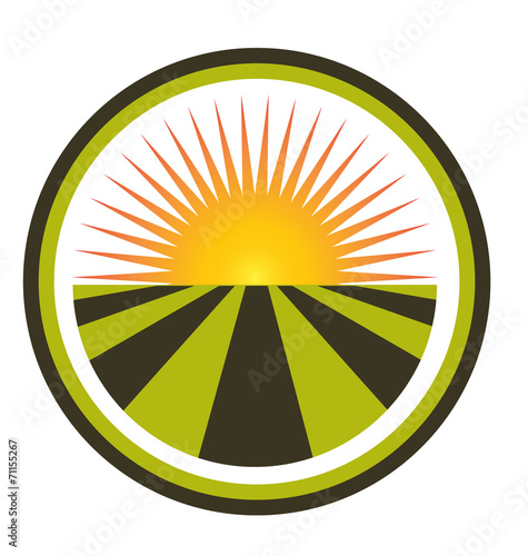 Sunset and field logo vector