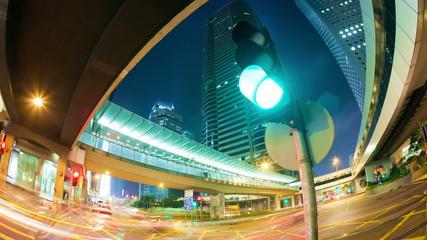 Dolly shot of traffic at night