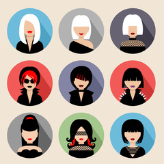 Set of circle flat icons with women.