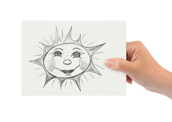 Hand with drawing sun