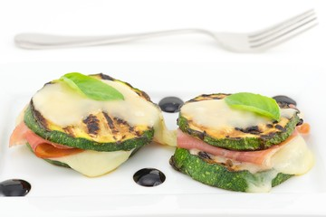 grilled zucchini stuffed with ham and cheese