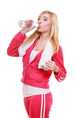 Fitness woman sport girl with towel drinking water
