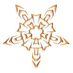3D Gold Ornamental Star on white background.