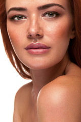 Gorgeous red head woman with big lips