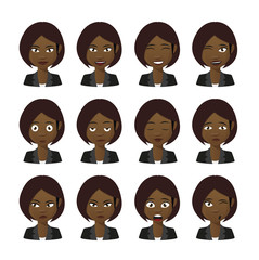 Female cartoon avatar expression set