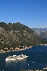 Cruise ship near the town of Kotor. Montenegro.