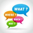 Vector colorful questions speech bubbles