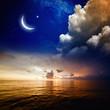 Sunset, sea and moon