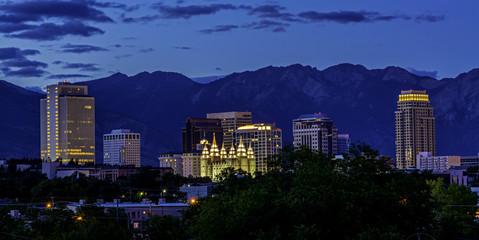 Skyline of Salt Lake City night