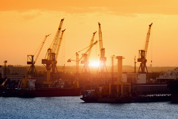 Ships and cranes on sunset