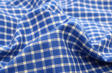Blue white crumpled plaid cloth