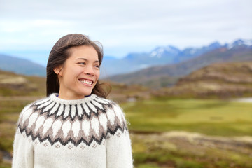 Woman on Iceland in Icelandic sweater
