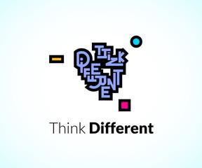 Think different phrase, graffiti logo sign, concept icon symbol