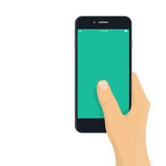 Hand holding mobile phone - flat design illustration