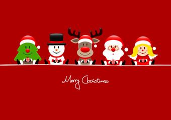 Card Tree, Snowman, Rudolph, Santa & Angel Gift Red