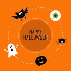 Ghost, bat, spider, eye, pumpkin. Halloween set. Card  flat